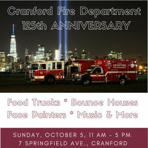 Cranford Fire Department 125th Anniversary Celebration @ Cranford Fire Department | Cranford | New Jersey | United States
