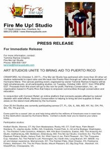 Art Studios Unite to Bring Aid to Puerto Rico @ Fire Me Up Studio | Cranford | New Jersey | United States