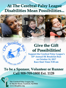 Cerebral Palsy League's 15th Annual 5K Breakfast Run @ Cerebral Palsy League | Cranford | New Jersey | United States