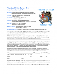 Friends of Colin Turkey Trot 5k Race @ Unami Park | Cranford | New Jersey | United States