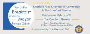 Cranford Area Chamber of Commerce Breakfast with with the Mayor, Patrick Giblin @ Cranford Theater | Cranford | New Jersey | United States