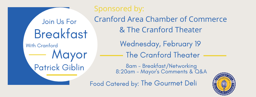 Cranford Area Chamber of Commerce Breakfast with with the Mayor, Patrick Giblin