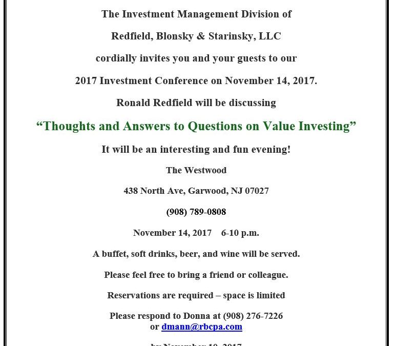 Redfield, Blonsky & Starinsky, LLC 2017 Investment Conference