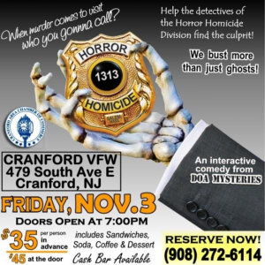 Cranford Area Chamber of Commerce Interactive Murder Mystery @ Cranford VFW | Cranford | New Jersey | United States