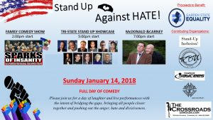 """STAND UP AGAINST HATE"" COMEDY EVENT TO BENEFIT LOCAL COMMUNITY ORGANIZATIONS FEATURES COMEDIANS JOE CARNEY, RICH MCDONALD AND MORE @ Crossroads 