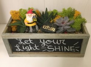 Gnome - Let your Light Shine in Chalkboard Container at Whole Foods-The Clark Bar @ Whole Foods Market (Clark, NJ)  | Clark | New Jersey | United States