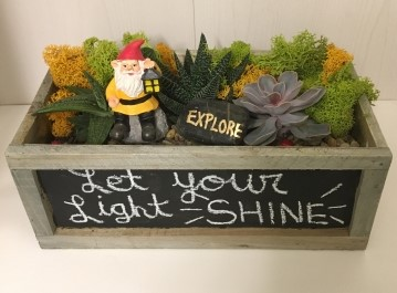 Gnome – Let your Light Shine in Chalkboard Container at Whole Foods-The Clark Bar