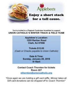 Union Catholic's Winter Track & Field Team Fundraiser @ Applebees | Clark | New Jersey | United States