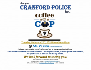 Coffee with a Cop @ Mr. J's Deli | Cranford | New Jersey | United States
