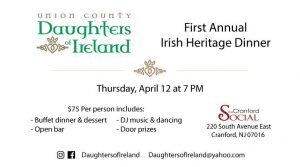 First Annual Irish Heritage Dinner @ The Cranford Social Club | Cranford | New Jersey | United States