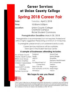 Spring 2018 Career Fair at Union County @ Union County College | Cranford | New Jersey | United States