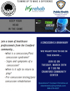 A Concussion is a Brain Injury - Keep your head in the game Concussion Seminar @ Cranford Community Center | Cranford | New Jersey | United States