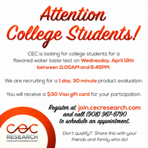 College Student Flavored Water Study @ CEC Research | Cranford | New Jersey | United States