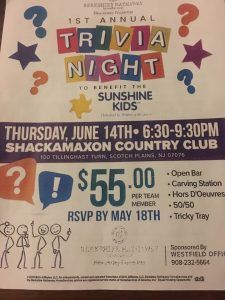 Trivia Night to Benefit The Sunshine Kids @ Shackamaxon Country Club | Scotch Plains | New Jersey | United States