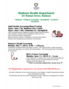 Adult Health Screening/Blood Testing @ Chisholm Ctr. Springfield | Springfield Township | New Jersey | United States
