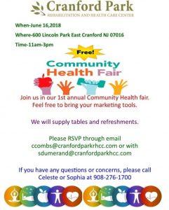 Community Health Fair @ Cranford Park Rehabilitation and Health Care Center | Cranford | New Jersey | United States