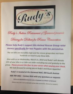 Dining for Dollars for Rescue Connection @ Rudy's of Garwood | Garwood | New Jersey | United States