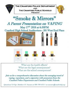 Smoke & Mirrors: A Parent Presentation on Vaping @ Cranford High School | Cranford | New Jersey | United States
