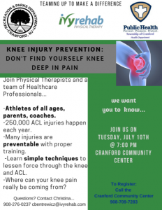 Knee Injury Prevention: Don't find yourself Knee Deep in pain! @ Cranford Community Center | Cranford | New Jersey | United States