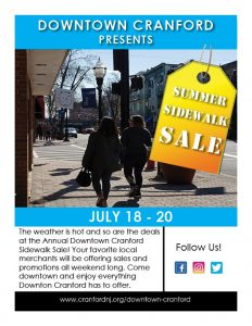 Downtown Cranford Summer Sidewalk Sale @ Downtown Cranford