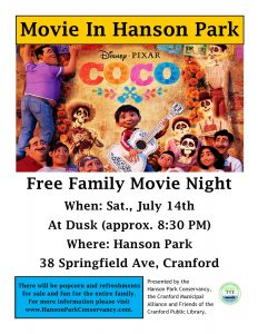 Movie in the Park - Coco @ Hanson Park | Cranford | New Jersey | United States
