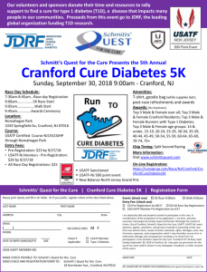 Schmitt's Quest For the Cure Presents the 5th Annual Cranford Cure Diabetes 5K @ Nomahegan park | Cranford | New Jersey | United States