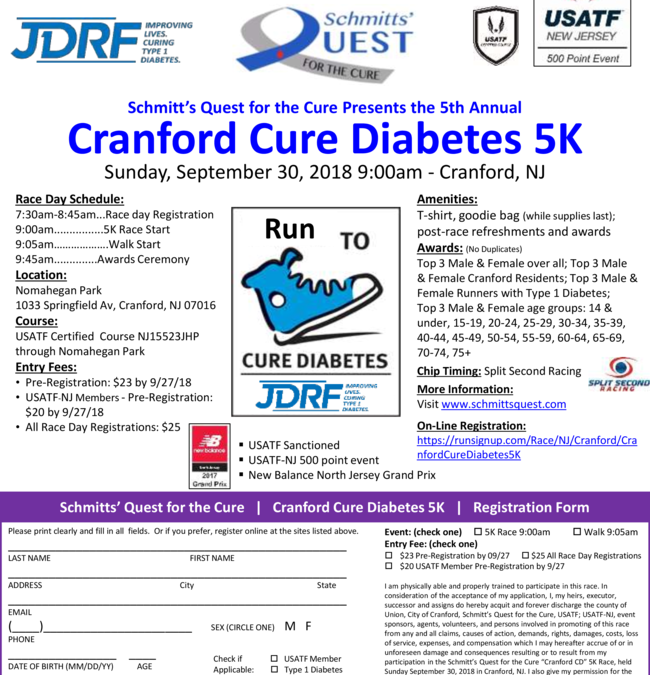 Schmitt's Quest For the Cure Presents the 5th Annual Cranford Cure Diabetes 5K