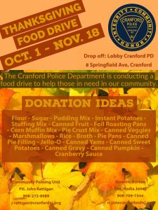 Cranford Police Thanksgiving Food Drive @ Cranford Police Department | Cranford | New Jersey | United States