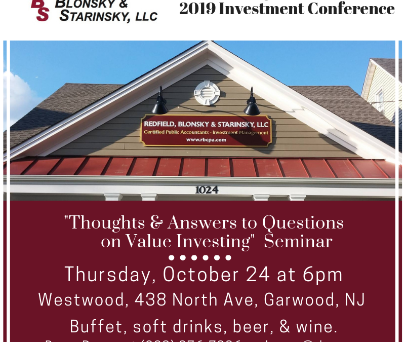 "2019 Investment Conference: ""Thoughts and Answers to Questions on Value Investing"""