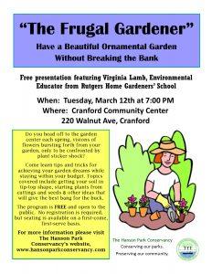 """The Frugal Gardener"" @ Cranford Community Center | Cranford | New Jersey | United States"