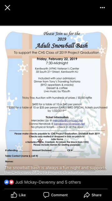 Adult Snowball Bash to Support Project Graduation
