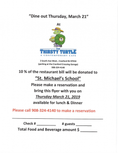 St Michael School Dine Out @ The Thirsty Turtle | Cranford | New Jersey | United States
