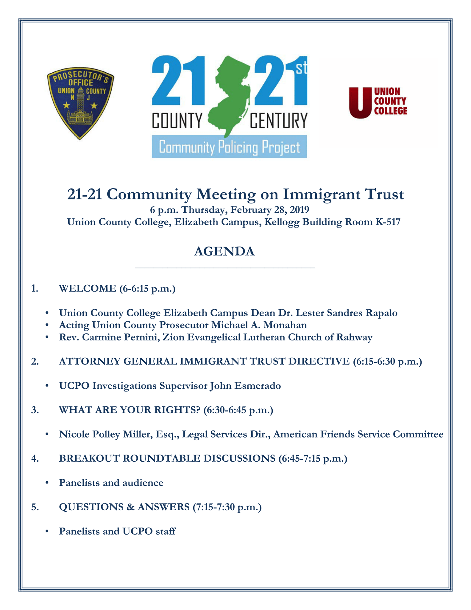 Community Meeting on Immigrant Trust @ Union County College, Elizabeth Campus, Kellog Building K-517 | Elizabeth | New Jersey | United States
