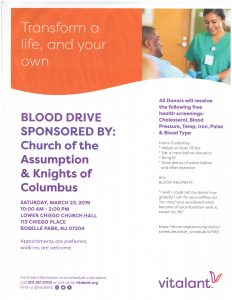 BLOOD DRIVE SPONSORED BY: Church of the Assumption & Knights of Columbus @ Church of the Assumption | Roselle Park | New Jersey | United States