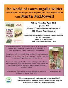 The World of Laura Ingalls Wilder with Marta McDowell @ Cranford Community Center | Cranford | New Jersey | United States