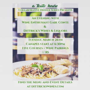 A Toute Heure and Dittrick's Wine Dinner - An Evening with Gabe Conte @ A Toute Heure | Cranford | New Jersey | United States