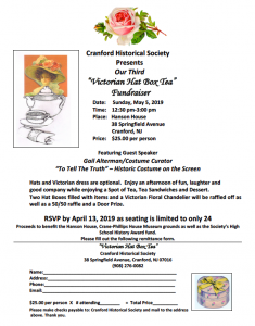 Victorian Hat Box Tea Fundraiser @ Cranford Historical Society, Hanson House | Cranford | New Jersey | United States