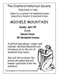Music Program Featuring Michele Mountain, Harpist @ Cranford Historical Society, Hanson House | Cranford | New Jersey | United States