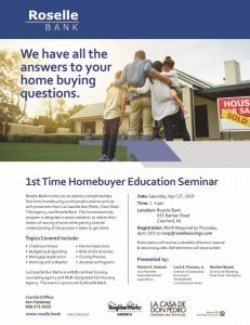 Roselle Bank's 1st Time Homebuyer Workshop @ Roselle Bank | Cranford | New Jersey | United States