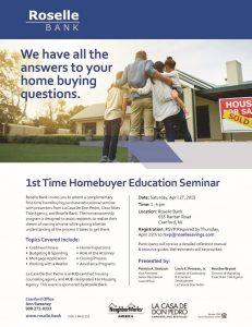 Roselle Bank's 1st Time Homebuyer Workshop @ Roselle Bank | Cranford | New Jersey | United States