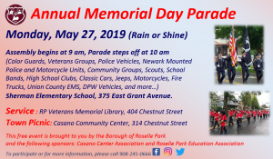 Borough of Roselle Park  Annual Memorial Day Parade, Service, and Town Wide Picnic @ Sherman Elementary School | Roselle Park | New Jersey | United States