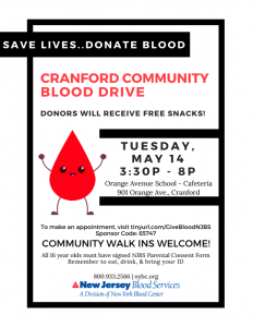 CRANFORD COMMUNITY BLOOD DRIVE @ Orange Avenue School | Cranford | New Jersey | United States