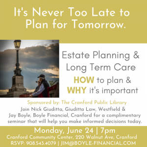 Estate Planning & Long Term Care Seminar @ Cranford Community Center | Cranford | New Jersey | United States