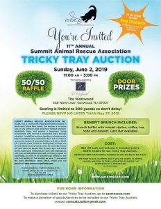 Summit Animal Rescue Association 11th Annual Tricky Tray Auction @ The Westwood | Garwood | New Jersey | United States