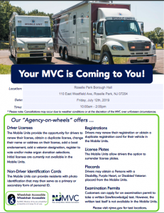 New Jersey Motor Vehicle Commission Mobile Unit @ Roselle Park Borough Hall | Roselle | New Jersey | United States
