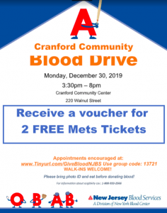 Cranford Blood Drive - Pair of NY Mets tickets to donors! @ Cranford Community Center | Cranford | New Jersey | United States