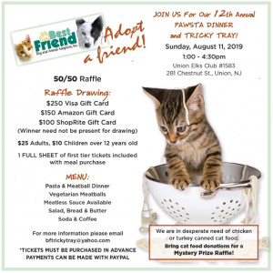 Pawsta Dinner and Tricky Tray for Best Friend Animal Adoption @ Union Elks Club | Union | New Jersey | United States