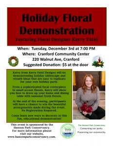 """Holiday Floral Demonstration"" featuring floral designer Kerry Patel @ Cranford Community Center 