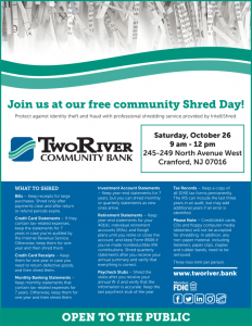 Free Community Shred Day @ Two River Bank | Cranford | New Jersey | United States