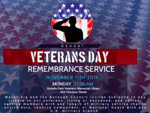 ROSELLE PARK TO HOST VETERANS' DAY SERVICE @ Roselle Park Veterans Memorial Library
